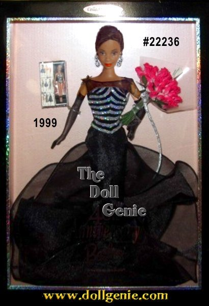 Who, but Barbie, could look even better on her 40th anniversary than on her first debut? 1959 meets 1999 as Barbie doll dons a black flock bodice shimmering with silvery glitter nostalgically reminiscent of her original 1959 striped-pattern bathing suit. Her slim silhouette gown of black organza spills to a delicate  tulip hemline. An illusion neckline of sheer black and daring dangly earrings offset her soft French twist and exquisitely charming face. Adding a dynamic touch to celebrate her 40th anniversary is a bountiful bouquet of 40 pink roses, which she gracefully holds in her arms that are covered with sheer black opera-length gloves. A miniature replica of the original 1959 doll and package are included.