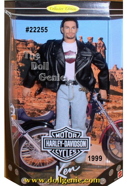 Collector Edition - Ken doll looks very cool in a black faux leather motorcycle jacket with a Harley-Davidson logo on the back, a Harley T-shirt, and torn faded blue jeans. His blue eyes, ponytail and goatee are sure to catch Barbie dolls eye!