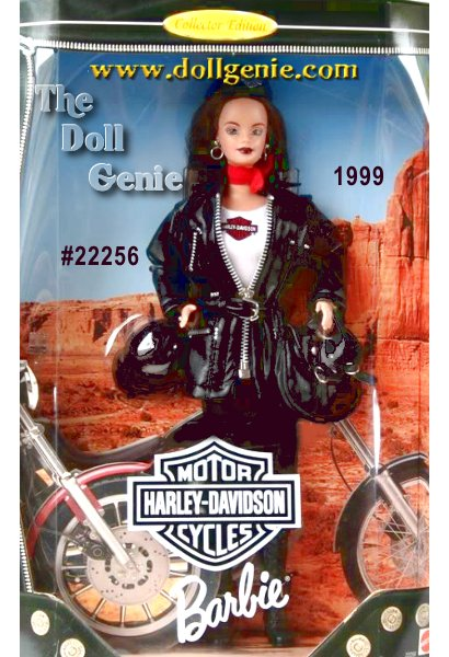 Collector Edition - She is the hottest Harley-Davidson Barbie doll yet! And this time, Ken doll is along for the ride too! Harley-Davidson Barbie doll #3 wears a very hip black leather-look jacket decorated with silvery studs, zipper trim, and working zipper with a Harley T-shirt underneath. Shes ready to hit the road in her black leggings and biker boots accented rnwith buckles. Harley Barbie#3 is absolutely gorgeous with long dark brown hair, brown eyes, and dark lipstick, and a red chiffon scarf tied at her neck to add a touch of sophistication. Her accessories include silvery hoop earrings, sunglasses, a biker helmet, and Harley logo hat and black faux leather satchel decorated with silvery studs and buckles. She will definitely turn some heads at Bike Week!