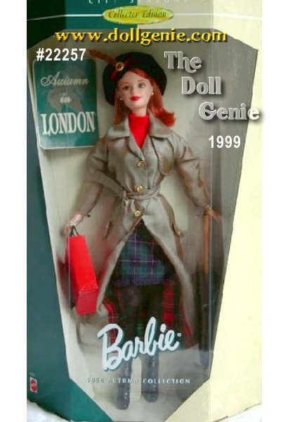 Barbie doll welcomes the London fog and soft mist reminiscent of this grand city. Under the warmth of her lined, full-length plaid raincoat is a classic top and skirt - always stylish no matter what the weather. The beret-style hat she wears completes her fashionable look and an umbrella helps keep her outfit dry.