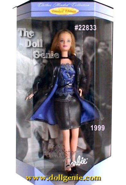 Trend Forecaster Barbie is dressed for a day in the global business arena in a trend-setting look that speaks to todays woman and her intelligence, talent rnand individual style. Always ahead of her time, Barbie doll looks sensational in a chic, fitted, leather-look swing coat lined in lavender satin, and a matching dark grey mini skirt with a sassy little camisole underneath. From her long, straight blond hair to her ankle-strapped rnplatform shoes, Trend Forecaster Barbie doll expresses the excitement and magic she brings to everything she does.