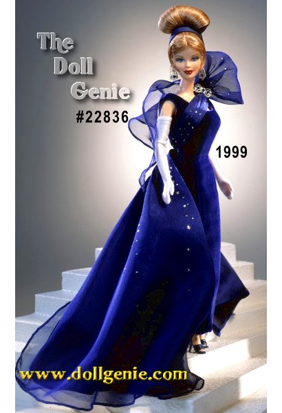 Barbie doll will surely light up the room in this stunning ensemble! Wearing a blue floor-length velvety gown, long white  gloves, and a sparkling blue sash draped across the top of her dress, she is ready to dance the night away. Her upswept strawberry blond hair and crystal drop earrings add just the right touch of magic to this already stunning creation.