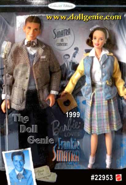Collector Edition - 1940s bobbysoxer Barbie doll gets to meet her idol, Frankie Sinatra. Wearing brown loafers and folded white bobby socks, Barbie swoons over Frankie in his signature 1940s-style light tan and black plaid jacket tailored with two patch pockets, mock breast pocket and signature floppy bow tie. Frankie croons into a matte silvery finish microphone while Barbie looks on holding a 78 single hit tune record. She wears a knee-length, box pleated rnpastel plaid skirt with slip lining, and she looks so sweet with her long shiny hair pulled back by a white ribbon and bow headband. A white short-sleeved bodysuit with four buttons peaks from beneath a classic box-cut jacket of copen blue and buttery yellow with three front buttons and buttoned tabbed-flap pockets.?