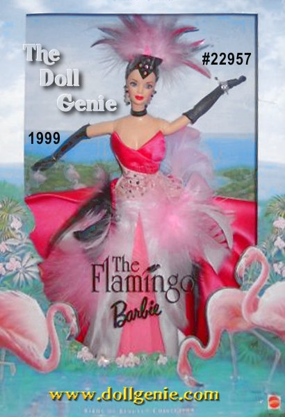 Second doll in the fanciful Birds of Beauty Collection, The Flamingo Barbie doll pays tribute to the tropical bird of the same name. Her flamingo-pink colored gown is accented with pink, black and white feathers and a flowing layered skirt of flamingo pink, light pink and white. A black headdress topped with feathers and rhinestones, a black choker and opera gloves add the finishing touches to her tropical look.?  rn