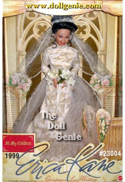 Erica Kanes got everything...beauty, charisma, power, and more. But her greatest desire is to be loved. Pine rnValleys ultimate queen of hearts, vows till death do us part - again in an unforgettable moment from ABCs award winning daytime soap, All my children.This one-of-a-kind Champagne lace Wedding doll celebrates Ericas rnromantic 1993 Spring wedding to handsome, wealthy Dimitri Matrick at Pine Valleys Wildwind Estate. Every detail of this daytime legends wedding ensemble has been authentically re-created just as she wore on her special day. Ericas mermaid-style gown of white lace with champagne satin lining and rnintricate beading is sleekly sophisticated, her flowing veil rndramatic, her bouquet as lovely as the bride herself. She even wears a wedding ring, symbolizing this romantic moment.