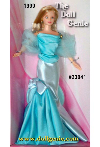 We celebrate the dreams Barbie has inspired for forty years, and the dreams she will continue to inspire, with a very special doll - a limited edition. Designed as a very special keepsake, Barbie is dressed in aquamarine, the color of her birthstone. Her elegant gown has a separate bodice held by a rhinestone chain, and a pale aqua skirt with a sweep of darker aquamarine that forms a train. A light tulle stole and delicate drop earrings add an elegant finishing touch. The beautiful golden bumblebee on Barbie dolls shoulder serves as a reminder that anything is possible. From an aerodynamic viewpoint, bees should not be able to fly - yet they do. This bumblebee serves as a symbol of achieving dreams and overcoming obstacles. Through Barbie, girls can see that they can be anything they want to be!