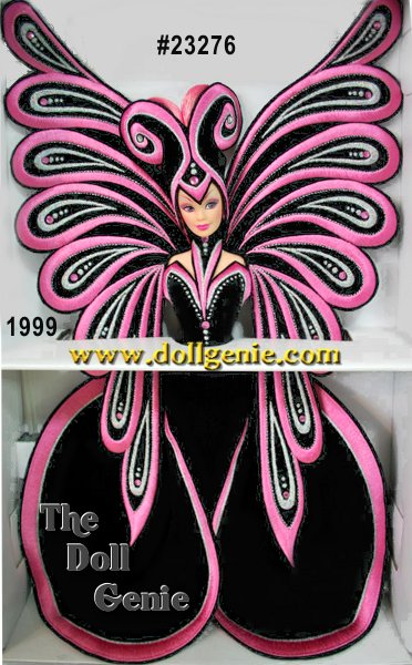 FAO Schwarz Limited Edition - In celebration of Barbie dolls 40th anniversary, designer Bob Mackie pulled out all the stops to create Le Papillon Barbie his fantasy image of the shimmering wonder of a butterfly. Barbie is draped in a dramatic, rnfull-length, strapless, fitted gown of velvety black with circular train and black stockings. Her slim silhouette is adorned with pink and silvery embroidery, and two shimmering rose-colored rhinestones. Large black butterfly wings with silvery and rose-tinted embroidery, speckled with matching rhinestones coordinate with her dress. A fabulous headpiece befitting the bold beauty of a butterfly showcases her radiant pink hair and lavender eyes.