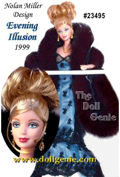 Todays glamour demands a thread of drama, which few can capture like Nolan Miller, one of Americas premier fashion designers. In a stylish, long sheath of sky blue charmeuse overlaid with black lace, Barbie doll is indeed dramatic. rnUpstaging even himself, Nolan Miller added lacy straps and a long, cascading train featuring intricate beading and a scalloped trim. A bodice of champagne colored charmeuse under a splash of black lace is gently draped with a faux fur stole. Accessories include golden drop earrings, a sparkling rnnecklace and nude open toed high heels. A copy of the original designer sketch is included.?