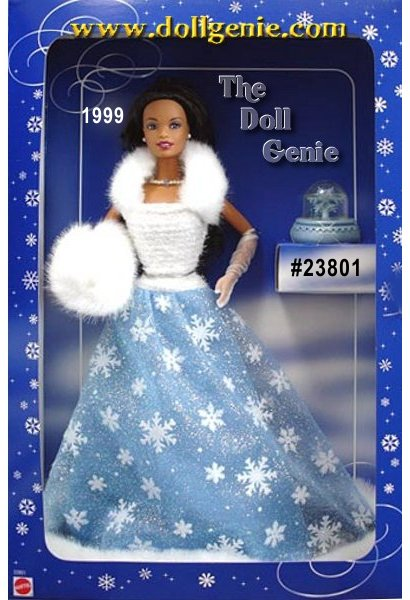 So Beautiful! She has a really pretty gown with shimmery snowflakes and glitter. The gown is trimmed with white faux fur. She has a faux fur shawl and muff. She is wearing a pearl necklace with a blue stone. She comes with a snow globe that plays Dance of the Reed Flutes from the Nutcracker. Includes a doll stand.