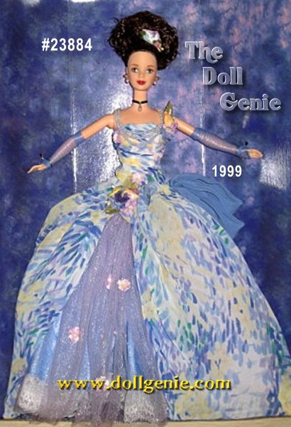 Encouraged by the soft tonal palette of artist Pierre Auguste Renoir, this third doll in a series inspired by great artists seems to belong in the Louvre, itself. Barbie dolls glamorous gown is truly a masterpiece of chiffon in periwinkle blues, powdery purples and pinks with soft patterns of yellow accents. The neckline of her bodice features delicate beading accented with  purple-pink flowers. Her skirt is flipped up on the side, revealing an under-layer of tulle and chiffon with embellishments of blue beads, sequins, and flowers. A beautiful blue chiffon bow decorates the opposite side of the skirt, and she wears matching sheer gloves. Barbie artfully brings everything together by wearing her brown hair in an elegant up-do accented with flowers, faux pearl drop earrings, a black faux pearl drop choker, and periwinkle t-strap sandals.?
