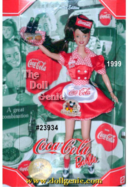 You will surely want fries with your COKE, when Barbie doll greets you in her COKE red and white uniform with matching gingham print trim. Capturing a slice of American pie, Barbie looks as nostalgic as the COCA-COLA trademarks adorning her apron, waitress cap and bottle-top serving tray. The front of her uniform sports a Barbie monogram and cute little attached gingham print hankie. Reminiscent of the times, Barbie wears black and white saddle shoes, a playful ponytail, and smiles eagerly with her writing tablet ready.