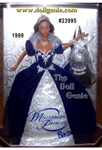 Millennium Princess Barbie doll is dressed in a magnificent royal blue velvety gown with shimmering organza and silvery glitter lace cascading down the front. A lovely tiara, sparkling necklace, rnand a crystal ball keepsake ornament make her a beautiful way to welcome the year 2000!  This Barbie truly celebrates diversity in culture and style.