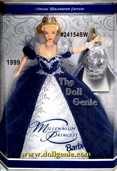 Millennium Princess Barbie doll is dressed in a magnificent royal blue velvety gown with shimmering organza and silvery glitter lace cascading down the front. A lovely tiara, sparkling necklace, and a crystal ball keepsake ornament make her a beautiful way to welcome the year 2000!  This Barbie truly celebrates diversity in culture and style. SWIRL BACKGROUND