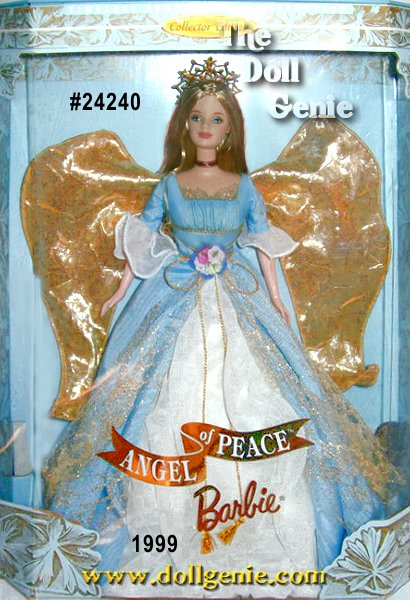 Collector Edition - Second in the enchanting Timeless Sentiments Collection of angels comes Angel of Peace Barbie doll, bringing a gentle reminder that peace is hidden in every moment if only we will be still and discover it. Irresistible in a heavenly blue gown, her angel wings seem to reflect the golden light of an early morning sunrise. Poised in grace and tranquility, Angel of Peace Barbie can serve as a reminder to seek peace and calm wherever she is displayed.