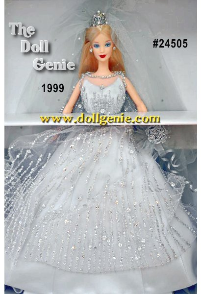 Celebrate a wedding at the dawn of the 21st century with Millennium Bride Barbie doll! Mattel designer Robert Best rndresses Barbie doll for her wedding day in a splendid bridal gown of delicate tulle over silvery satin adorned with hundreds of hand-sewn sparkling crystals, beads, and sequins. The dramatic trapeze silhouette is highlighted by a sweeping cape-like back, which meets the front of the gown with a tailored feminine bow at her waist. Her cathedral-length veil is rndusted with shimmering rhinestones, and a delicate rhinestone tiara frames her beautiful face and long blond hair. Silver-hued roses make up her lovely bouquet. Millennium Bride Barbie doll captures the excitement and glamour of rncelebrating a wedding and a new century, two important beginnings!