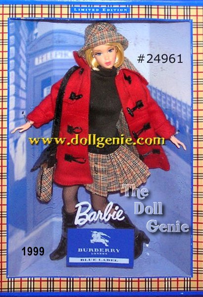 Burberry #1 blue label JAPAN EXCLUSIVE BARBIE. This Barbie was made for Burberry and limited exclusively to Burberry Blue Label stores in Japan in 1999. She is limited only to 10,000 pieces.