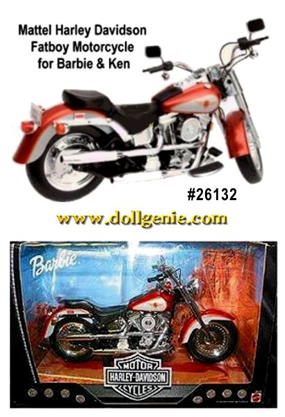 Harley Davidson FATBOY Motorcycle - scaled in size and perfect for Barbie and Ken Dolls - made by Mattel