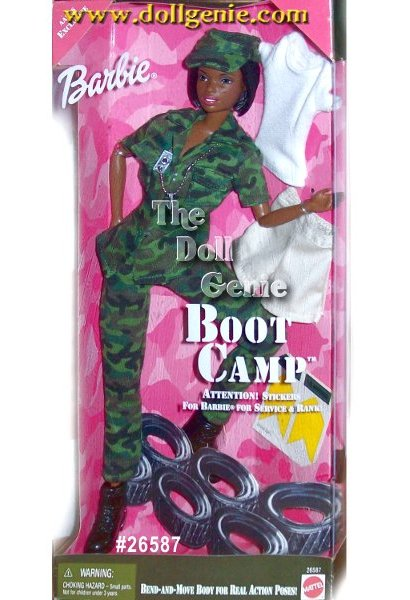 Barbie is ready to serve her country. Her camouflage uniform or khaki-look shorts and T-Shirt, shes outfitted in authentic style government issue (GI) gear complete with god tags. Check out the shine on her boots. Shes learning what it takes to be in the United States Military.