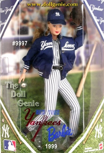 Youll want to take Barbie doll out to the ballgame to show off her detailed modern day Major League Baseball uniforms. As all-American as apple pie - and as sweet - Barbie is a fashion grand slam from her authentic jersey bodysuit with attached socks, pants, dugout jacket, and shoes, right down to her faux leather belt and silvery buckle. Stealing second requires keen eyesight, so to keep the glare out of her eyes, Barbie wears a baseball cap that features an authentic team logo. Each doll includes baseball accessories as well!