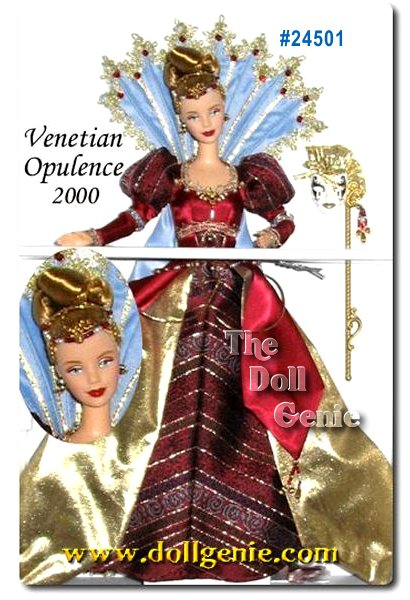 This magnificent final doll in the Masquerade Gala Collection was inspired by the most famous, romantic and opulent masquerade balls the world has ever known Venetian masked balls. In her lavish 18th century-style satin gown and lame cape, Barbie doll beautifully captures the history of this wonderful European tradition. Majestic and breathtaking, she is our only Barbie doll to ever represent the Venetian masked ball.