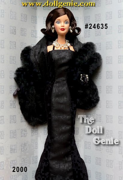 A timeless beauty, a timeless fashion. In one of the most exciting firsts ever, Barbie doll wears a classic reproduction of a 1956 gown by world-famous fashion designer Givenchy. Known for upscale, elegant glamour, his sleek design features Barbie in a slim-fitting, black evening gown accented by velvety straps and a striking black moire panel. A jet-black faux fur stole with matching black moire lining and long, black opera-length gloves provide the final stylish details. Givenchy and Barbie. rnTwo hallmarks of fashion together at last.