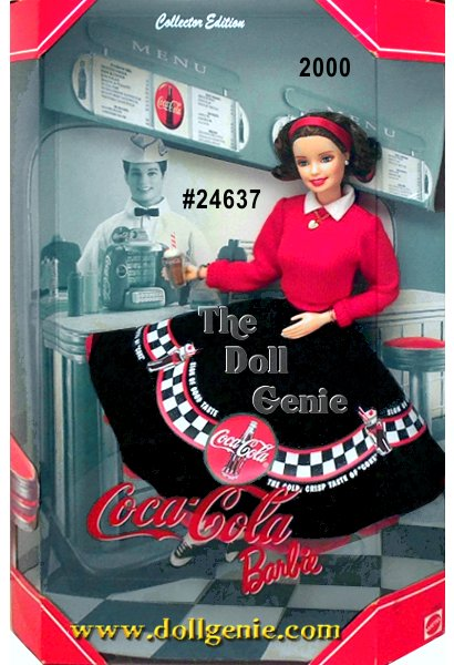 Second in a series that brings Barbie doll and COCA-COLA together. Dressed in an adorable 1950s soda  fountain ensemble, Barbie is the all-American girl. She wears a fitted red sweater over a black circle skirt with nostalgic COCA-COLA graphics. A red petticoat peeks out from beneath her full skirt, while white bobby socks and saddle shoes complete the look. Her chin-length brunette hair is adorned with a red headband. Authentic in every detail, Barbie even comes with her own soda fountain treat COKE ice cream float, complete with a straw and a cherry on top. Her jewelry includes earrings and a necklace with a heart charm.