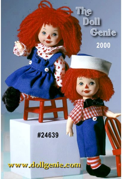 Kelly doll and Tommy doll are absolutely  adorable as the beloved childhood favorites, Raggedy Ann and Andy. These dolls are a perfect pair, from the tops of their signature red yarn hair, to their charming outfits, to their red-and-white striped leggings and black shoes. Kelly as Raggedy Ann wears a royal blue pinafore and heart-print dress with ruffles at the neck and cuffs. Her red yarn hair forms a pretty red bow. Tommy as Raggedy Andy wears a one-piece jumper with a red-and-white checked shirt, blue pants and big bow tie. A jaunty blue-and-white cap tops his red yarn hair. Each doll even comes with its own miniature red chair!