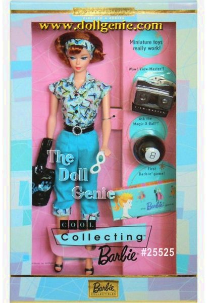 This limited edition Barbie doll is a toy collector who comes with miniature re-creations of three nostalgic toys. Barbie doll is outfit is nostalgic, too: a short-sleeved retro print blouse over blue pedal-pushers trimmed with the same retro print. Accenting her waist is a wide black belt with silvery buckle. She carries a shiny black Barbie handbag in one hand and white sunglasses in the other. A matching print headband and black mules complete her cool look. Includes three miniature toys that really work - a View-Master with reels, Magic 8 Ball and Barbie Queen of the Prom board game.