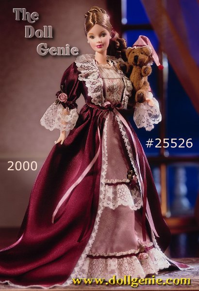 Victorian Barbie gazes fondly at her charming bear. Given to her when she was a little girl, Cedric Bear has been her constant companion and secret confidant. As Barbie cuddles him, she remembers the dear friend who gave her the bear. With his adorable little face and poseable arms and legs, Cedric Bear is a gift Barbie will treasure always.? Barbie wears a mauve charmeuse nightdress and burgundy dressing gown, embellished with ribbons, rosettes and lace. Cedric Bear, also dressed for a peaceful night of slumber, wears his mauve nightcap. As she sets him at the foot of her bed, Barbie thinks of the keepsakes, like Cedric Bear, that she and her friends have given each other. A smile on her lips, she bids her friends and little bear a goodnight.