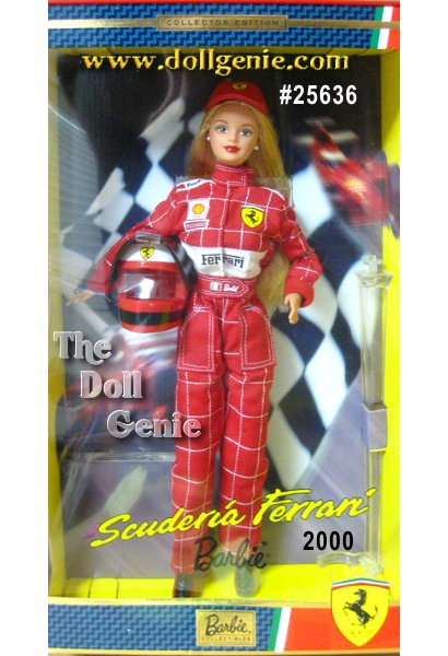 Barbie doll loves classic sports cars and Formula 1 racing! She really shows her spirit in this authentically re-created Ferrari drivers uniform. Scuderia Ferrari Barbie is a real winner in her racing red jumpsuit with sponsor logos, matching cap and sporty red and black shoes. She even comes with a protective racing helmet with working visor. Head off to the races with Scuderia Ferrari Barbie!