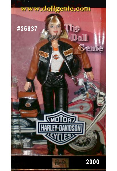 Barbie doll wears a black and orange leatherette jacket atop a sleeveless, white and black tee, both emblazoned with the official Harley-Davidson logo. She comes with all of the necessary accessories including a Harley-Davidson print scarf, black engineer motorcycle boots, silvery hoop earrings, motorcycle helmet, backpack, and cool black wrap-around sunglasses!