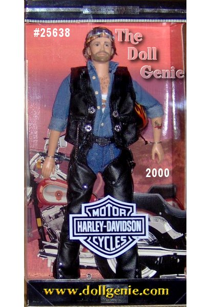 Ken doll looks hot in his denim shirt, white knit tank top, and black leatherette chaps worn over his blue jeans. Silvery stud accents and a silver and black Harley-Davidson shield buckle complete his outfit. He is got that true cool biker edge with his chest hair and rnbeard, and the born to ride tattoo on his forearm!