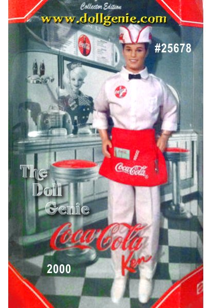 Barbie enjoys her soda even more when it is served by this truly dreamy Ken. A COCA-COLA script trademark adorns his clothes and a very special miniature bottle opener attaches to his apron. He even has a writing pad, pencil and straws for two. A very unique and collectible Ken, serving up memories of a time we will never forget.