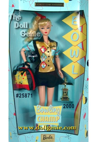 Barbie doll captures the excitement of one of Americas most popular participation sports! Wearing a retro bowling outfit she looks as if she is ready to bowl a perfect game, in a short-sleeved bowling shirt, black skort and bowling shoes. Her colorful satin shirt is made of blue sleeves, a yellow front, black accents and bright red trim. A Barbie monogram and whimsical bowling designs add fun and authenticity to her retro look. Barbie carries a bowling bag and comes with her own bowling ball. And because she is always a winner, she even comes with a bowling trophy!