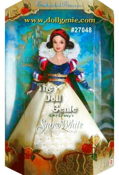 Barbie as Walt Disneys Snow White and the Seven Dwarfs Enchanted Princess.  Barbie has a short brown flipped bob hairdo. She is wearing a beautiful gown, the skirt is yellow satin with a tufted net overlay        accented w/gold beads on a front panel. The navy velvet bodice has gold band accents with queen style puffed sleeves at the shoulder and elbow.  The outfit has a  white lace stand up collar and a blue velvet cape.