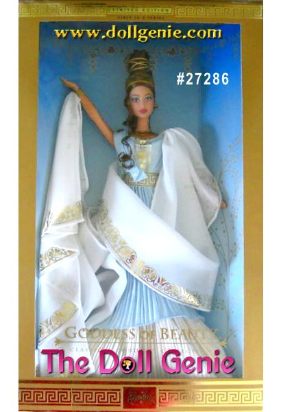 The Romans called her Venus. The Greeks called her Aphrodite. By any name her beauty was of mythic proportions. Presenting Goddess of Beauty Barbie doll. The premiere doll in the fascinating and historic Classical Goddess Collection, she wears an extraordinary sky-blue crepe gown and a magnificent toga adorned with golden, ancient Greek motifs. A Limited Edition 23 centuries in the making, she is one doll that truly belongs on a pedestal. $199.95