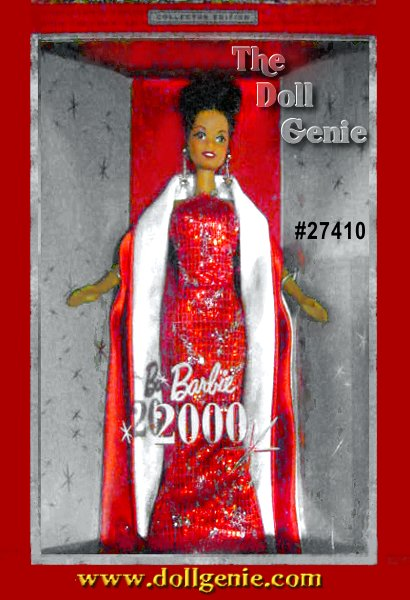 Barbie doll celebrates the year 2000 in grand style, wearing a spectacular ensemble worthy of a momentous occasion. Sparkling straps accent her sophisticated, silhouette-style halter gown, which is embellished with rhinestones and ends in a slightly flared hem. Silvery glitter starbursts and the year 2000 add pretty touches and serve as festive reminders of the new millennium. A floor-length red satin stole, turned back to reveal its silvery lining, drapes gracefully around Barbie dolls shoulders. Red and silver ornaments decorate her hairdo and drop earrings add the final glamorous touch.