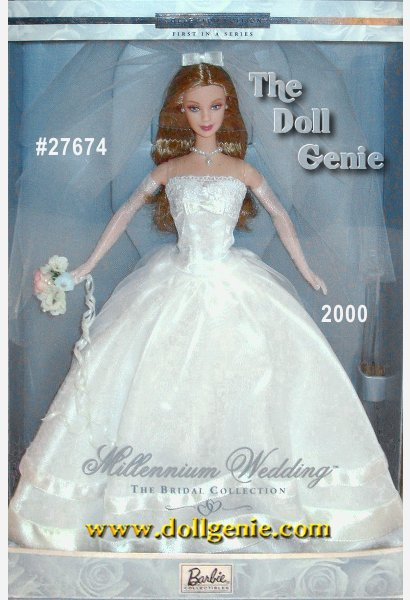 Barbie doll is ready to walk down the aisle in style, wearing a strapless white bridal gown with a lace-trimmed bodice and voluminous skirt. Her sheer overskirt is stunning, trimmed with bands of white satin. Barbie dolls faux pearl earrings and faux pearl drop necklace complement the gown perfectly. A sheer veil and long white gloves make up the finishing touches. And because no bridal ensemble would be complete without flowers, Barbie holds a pretty floral bouquet.