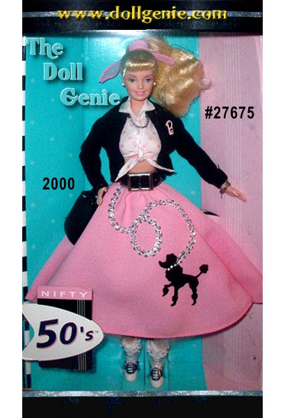 Fifth in the Great Fashions of the 20th Century series, Barbie doll is ready for a sock hop in a classic 1950s ensemble. She wears a black cardigan sweater personalized with the letter B over a white shirt with pink polka-dots. A white tulle petticoat peeks out from beneath her pink poodle skirt, which is cinched at the waist with a black belt. True to the era in every detail, she even wears saddle shoes with lace-trimmed bobby socks. Her blond ponytail is tied with a pink scarf, and she carries a shiny black handbag. Barbie dolls jewelry includes a faux pearl necklace, silvery earrings and bracelet with a single charm.