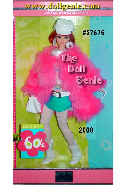 Sixth in the Great Fashions of the 20th Century series, Barbie doll looks groovy in her mod 1960s ensemble. She wears a short coat with layers of hot pink novelty plush over a colorful mini dress. The drop-waist dress is made of a brightly printed top and a turquoise skirt, accented by a funky white hip-hugging belt. And she comes with all the necessary mod accessories - a white cap, white fishnet stockings and go-go boots, a small white handbag, and a pair of sunglasses!