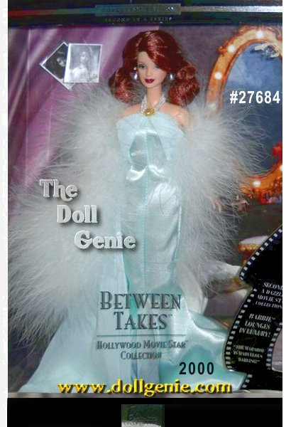 Second in the Hollywood Movie Star Collection, featuring Barbie doll as a glamorous celebrity, Barbie doll relaxes between scenes in a pale aqua charmeuse and chiffon negligee. A long attached train and a dramatic pale aqua marabou stole add a touch of elegance to the gown. Always dressed like a star, Barbie wears dazzling faux pearl and rhinestone jewelry, including a fantastic necklace, earrings and bracelet.
