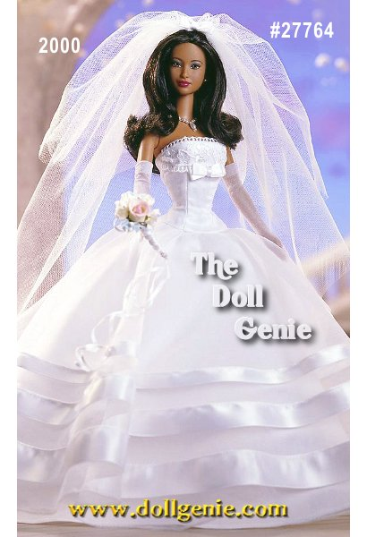 Barbie doll is ready to walk down the aisle in style, wearing a strapless white bridal gown with a lace-trimmed bodice and voluminous skirt. Her sheer overskirt is stunning, trimmed with bands of white satin. Barbie dolls faux pearl earrings and faux pearl drop necklace complement the gown perfectly. A sheer veil and long white gloves make up the finishing touches. And because no bridal ensemble would be complete without flowers, Barbie holds a pretty floral rn    bouquet.