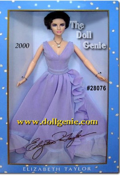 The Elizabeth Taylor Doll is stunning in a semi-sheer sleeveless chiffon violet gown, fitted through the bodice with a long skirt that is accented with ruffled edges. The hues of purple perfectly complement Taylors luminous violet eyes. This very sophisticated gown is complemented by stunning jewelry, featuring a real Swarovski crystal drop necklace. Elizabeth Taylors distinctly beautiful features are precisely captured with great clarity and detail in the dolls sculpting. Swarovski is registered trademark of Swarovski Trisen AG, used with permission. $129.95