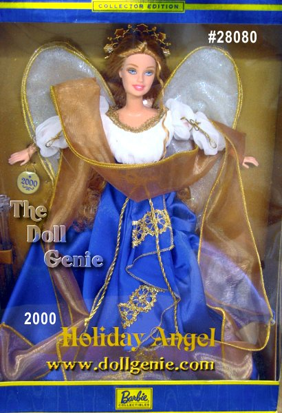 Barbie looks lovely in a flowing ensemble, shimmering with golden highlights. Her angelic gown is made of an ivory shirred bodice accented with puffed sleeves, and a royal blue, full skirt, which opens in front to reveal a sheer white underskirt. The lovely gown is embellished with golden braid trim. A golden stole swirls all around her glittering ivory wings and golden halo.