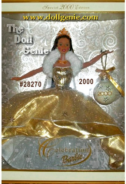 She is a lovely holiday dream come true. She is the absolutely breathtaking Celebration Barbie doll. Sure to make the first holiday of the new Millennium something special to remember, she wears a lavish, glittering golden gown with a full taffeta underskirt. Her golden, shimmering bodice and luxuriously soft, faux fur collar add an extraordinary princess-like aura to her beauty. Holding a dazzling ornament, which pays tribute to the year 2000, she is a wonderful way to commemorate this momentous year. Celebration Barbie. The perfect holiday gift for some lucky little girl, or a dear friend who is young at heart.