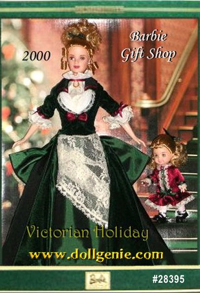 Limited Edition Christmas in Victorian England. It was a time of horse-drawn sleighs, caroling and trimming the tree. Experience it for yourself through this heart-warming and charming giftset, Victorian Holiday Barbie and Kelly. Authentic to the period, Barbie doll is elegantly dressed in a rich holly-green velvet and taffeta gown that features a lavish bow bustle. Little sister Kelly doll is as adorable as ever in her burgundy charmeuse party dress, white tights and cute shoes.