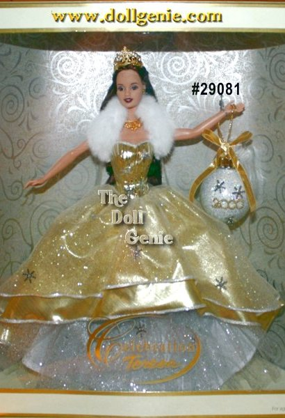 Special Edition - Shes a lovely holiday dream come true. Shes the absolutely breathtaking Celebration Barbie doll. Sure to make the first holiday of the new Millennium something special to remember, she wears a lavish, glittering golden gown with a full taffeta underskirt. Her golden, shimmering bodice and luxuriously soft, faux fur collar add an extraordinary princess-like aura to her beauty. Holding a dazzling ornament, which pays tribute to the year 2000, she is a wonderful way to commemorate this momentous year. Celebration Barbie. The perfect holiday gift for some lucky little girl, or a dear friend whos young at heart.