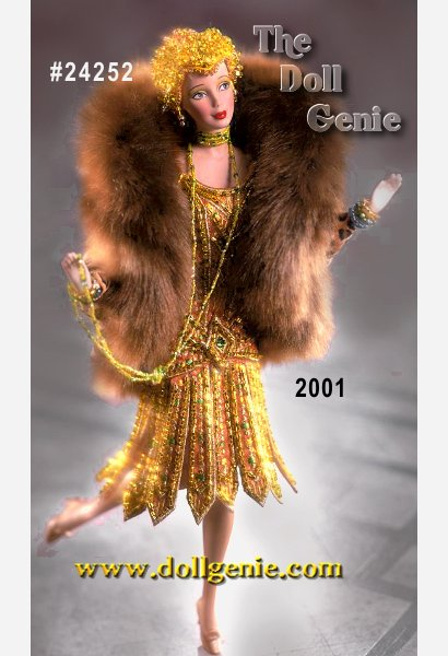Barbie bears incredible likeness to the flappers of the 1920s dance scene. Her dress is beaded on orange material with chartreuse, green, gold, and clear beads, and features a skirt made up of separate beaded panels. She wears a bubble-shaped coat of beaded leopard print lined in bright purple satin and trimmed in long brown fur, and dons a small cap covered with chartreuse, green, and gold beads with two blond curls peeking out. Her thigh-high stockings and shoes are painted onto her legs. Jewelry accents include a long chartreuse green beaded necklace and multicolored beaded bracelets. Porcelain body was specially sculpted to achieve Charleston posing.