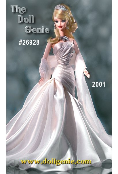 Limited Edition Duchess of Diamonds Barbie doll joins regal company in the acclaimed Royal Jewels Collection. She shimmers with authentic Swarovski crystals - clear and sparkling exquisitely set in her tiara, necklace, and earrings. Her long evening dress, in a pearly shade of white charmeuse, is complemented by a matching off-white chiffon stole, which elegantly completes the opulent ensemble. $149.95