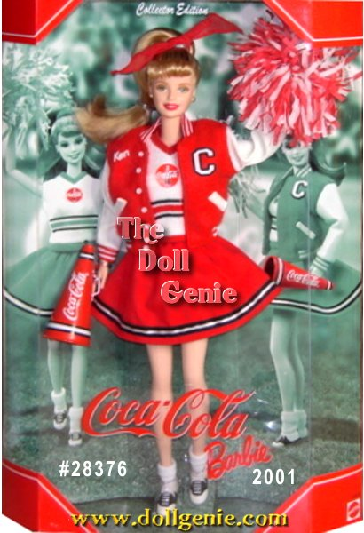 COCA-COLA and Barbie are teaming up once again. Barbie sports a darling COKE Red cheerleader skirt with her red, white, and black COCA-COLA sweater. Shes even wearing her dreamboat Ken dolls letterman jacket. With blonde hair pulled up into a ponytail and tied with a red ribbon, and adorable white socks and saddle shoes, Barbie appears ready to cheer on the big game! Authentic details include her megaphone with COCA-COLA trademark, and red white pom pom.